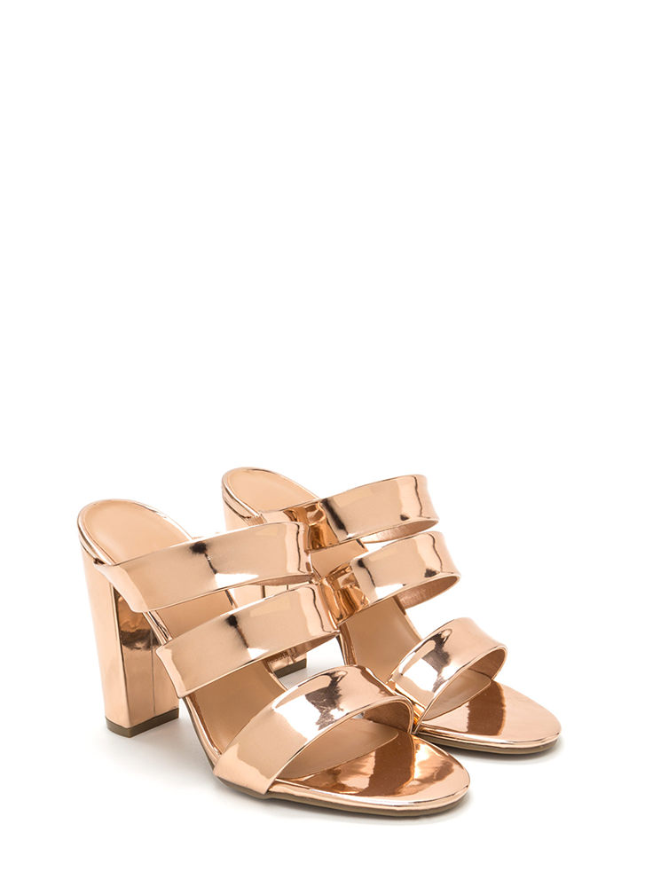 It Takes Three Chunky Mule Heels ROSEGOLD