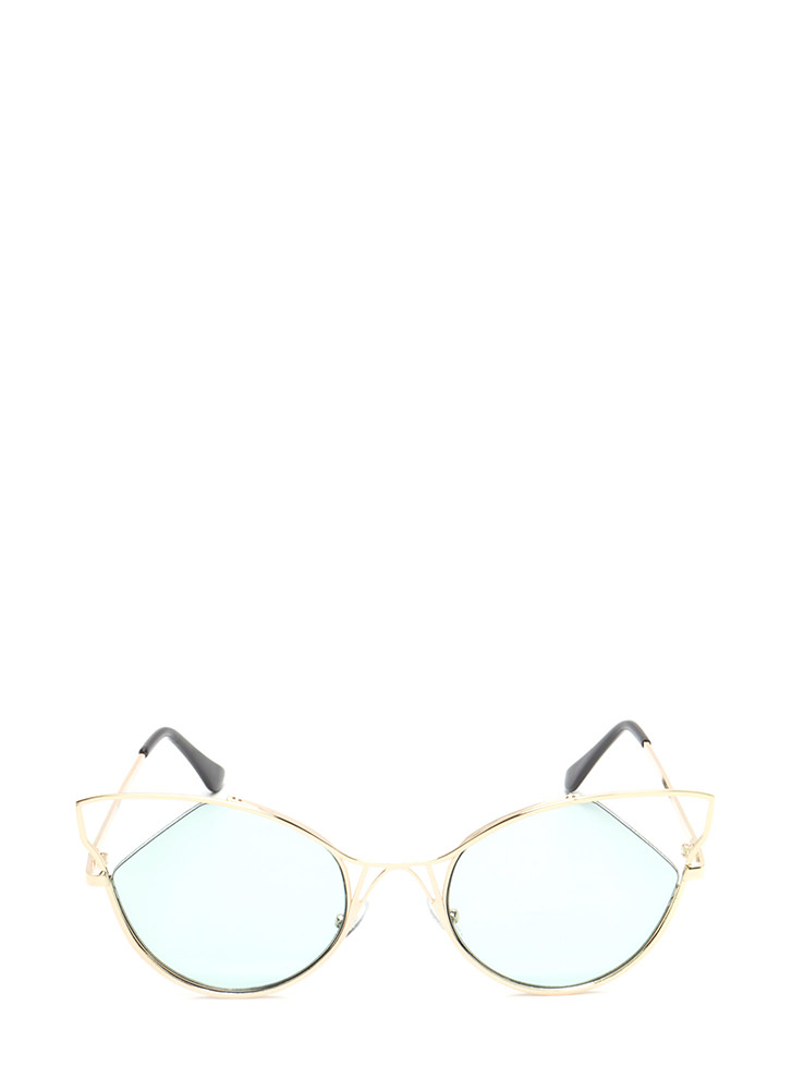 Feline Good Cut-Out Tinted Sunglasses GREEN