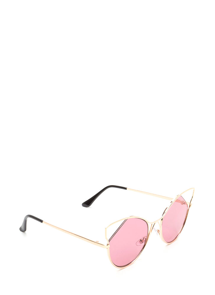 Feline Good Cut-Out Tinted Sunglasses PINK