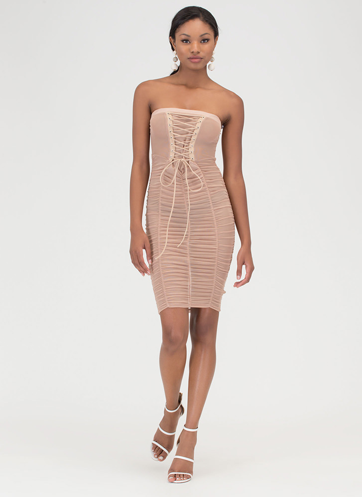 Fine And Flirty Sheer Lace-Up Dress TAUPE