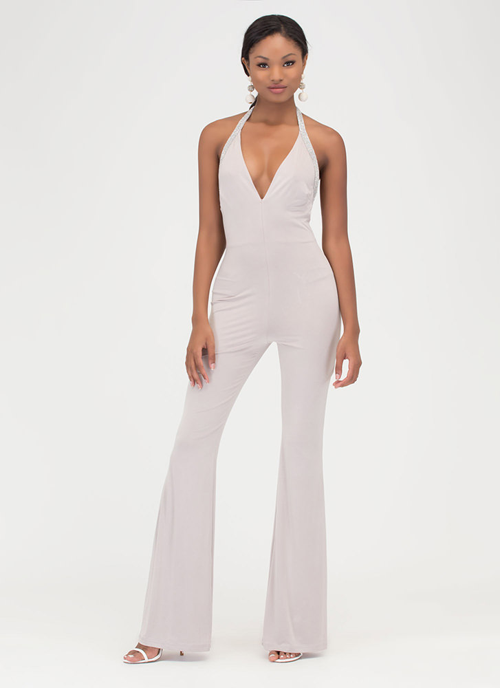 Glam Goddess Sparkly Palazzo Jumpsuit CHAMPAGNE