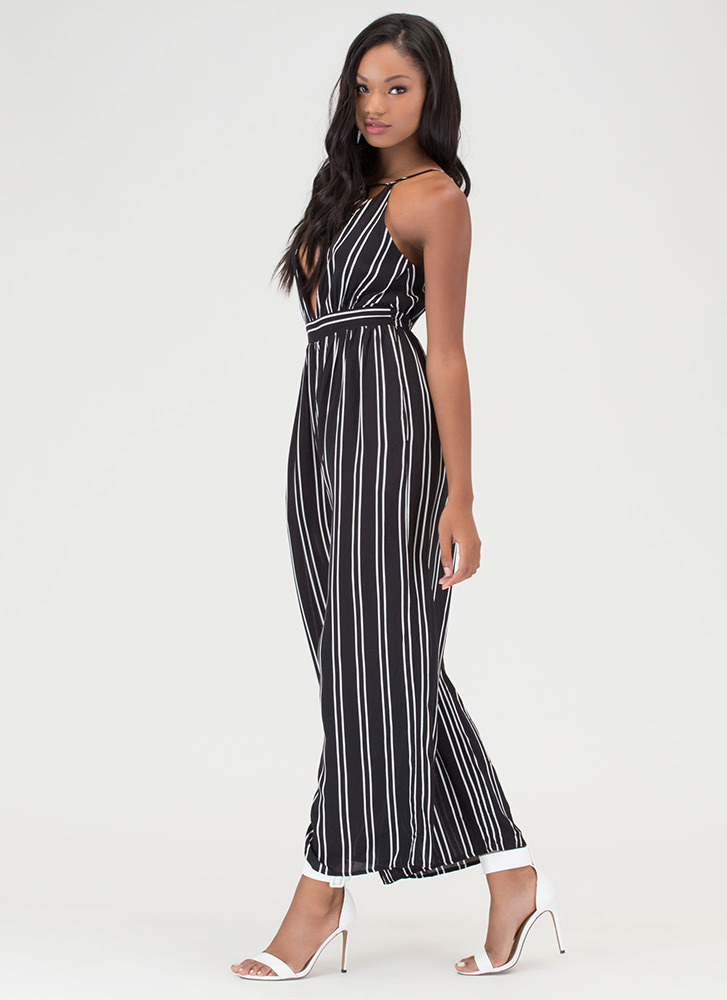 Stripe The Right Note Palazzo Jumpsuit BLACK