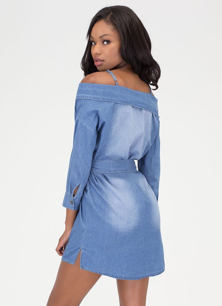 Casual Code Chambray Off-Shoulder Dress BLUE