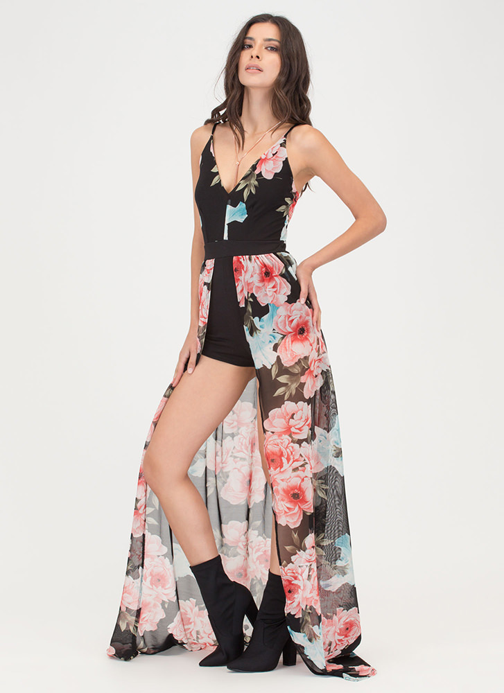 Floral Queen Sheer Plunging Maxi BLACKPINK