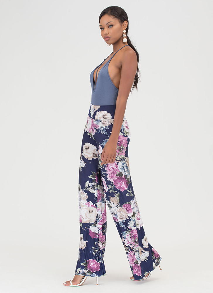 Grow With It Wide Palazzo Pants NAVY