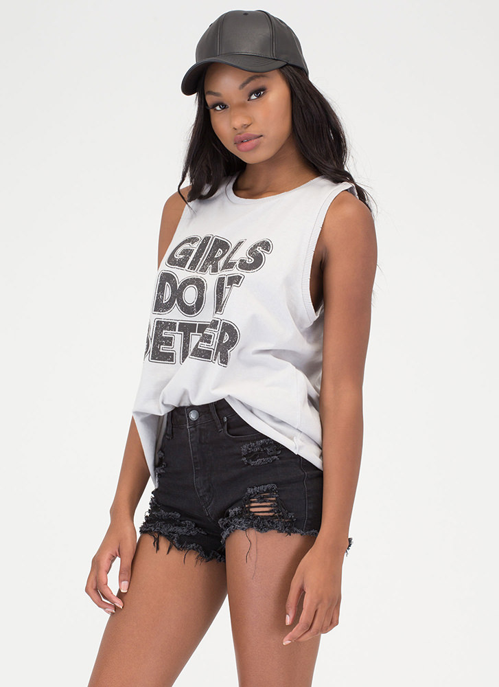 Girls Do It Better Graphic Tank Top GREY