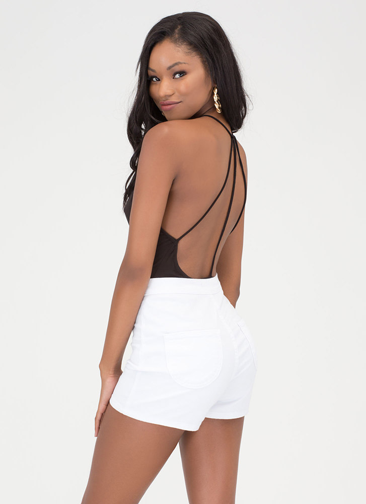 Downtown Nights Plunging Caged Bodysuit BLACK