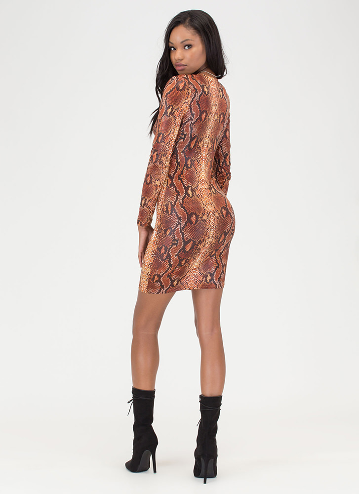 Snake Out Plunging Shoulder Pad Dress RUST
