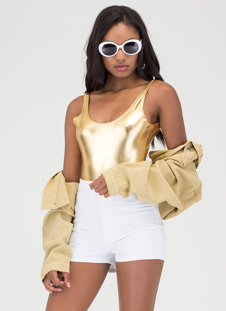 Glow For It Plunging Metallic Bodysuit GOLD