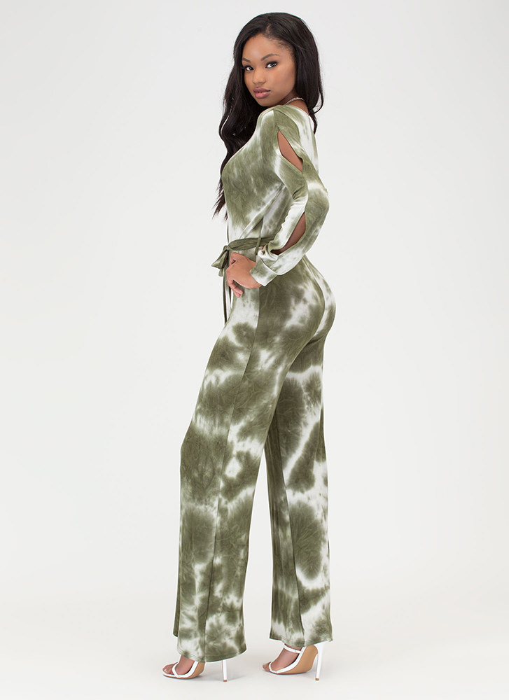 Beach View Tie-Dye Palazzo Jumpsuit OLIVE