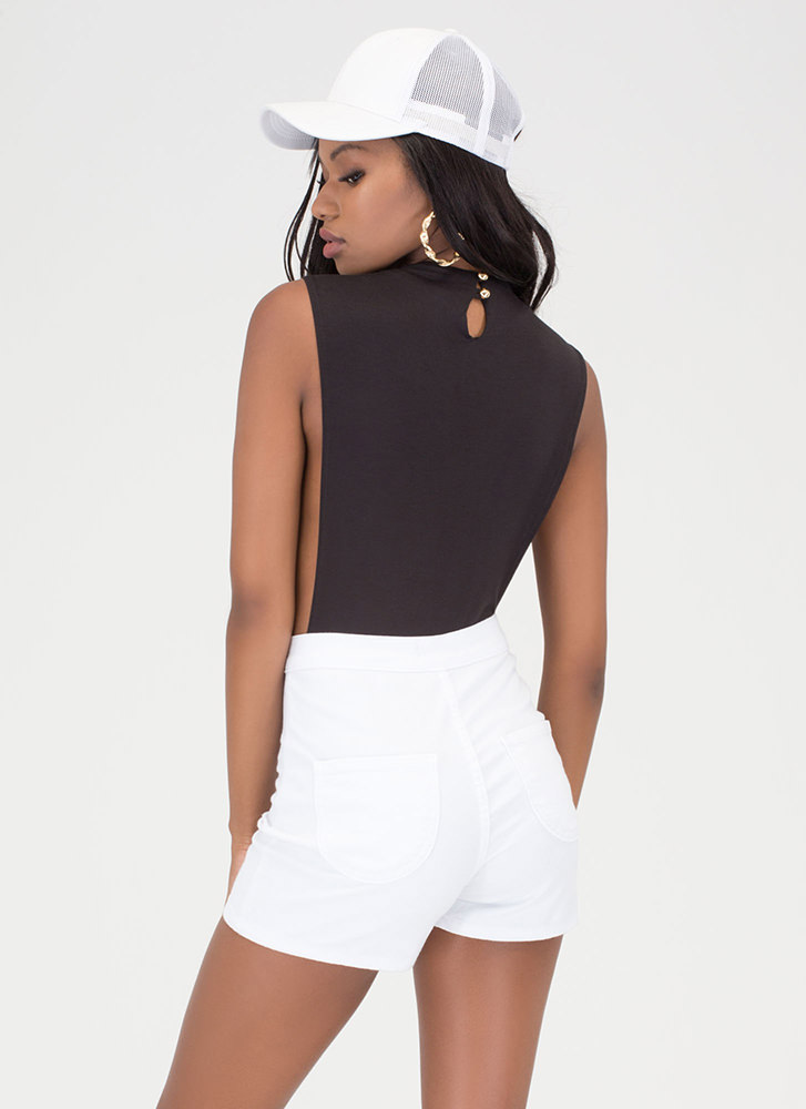 Side To Side Deep-Cut Bodysuit BLACK