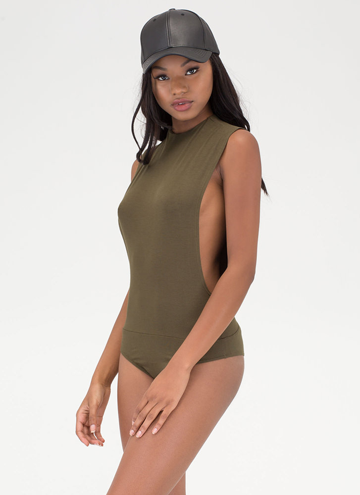 Side To Side Deep-Cut Bodysuit OLIVE