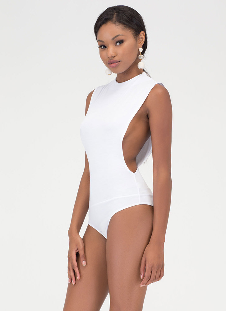 Side To Side Deep-Cut Bodysuit WHITE