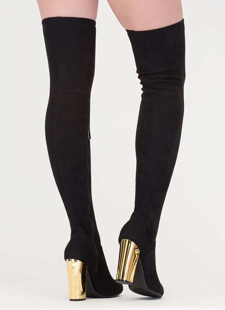 Shine Back Faux Suede Thigh-High Boots BLACK