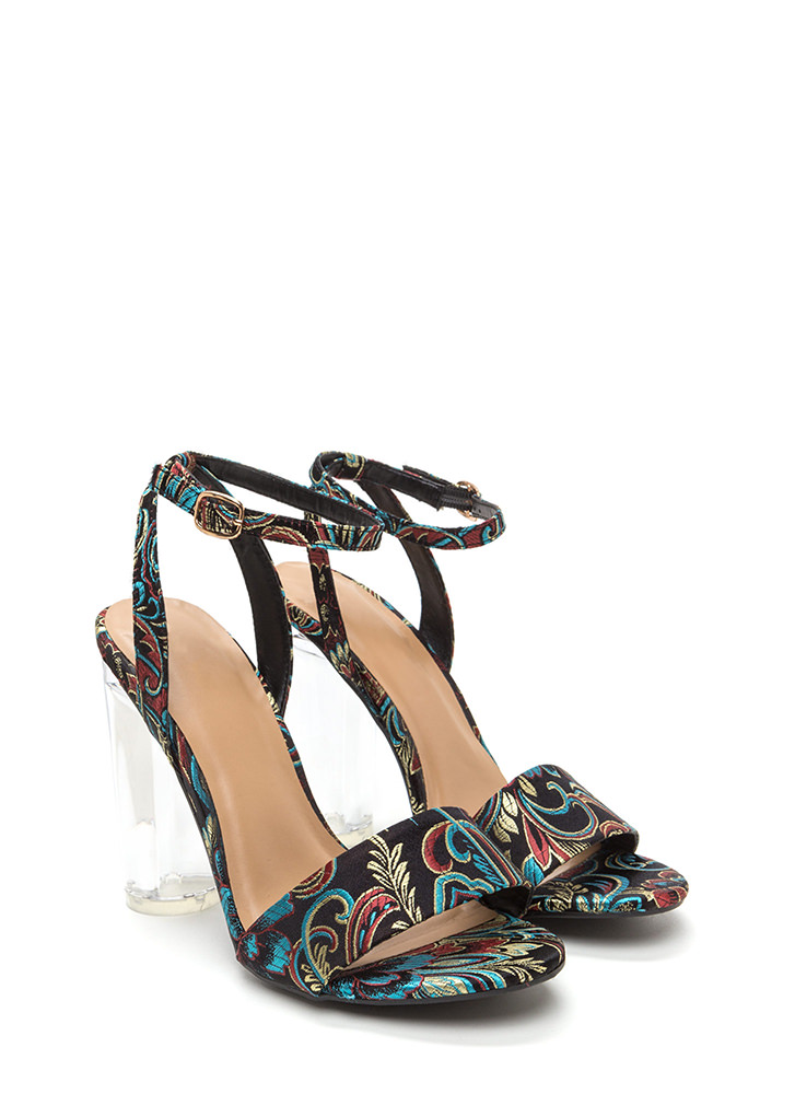 Round The World Embroidered Lucite Heels BLACK