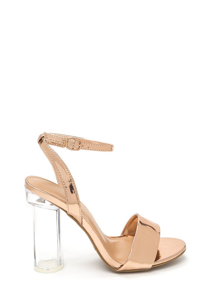 Round The World Chunky Lucite Heels ROSEGOLD