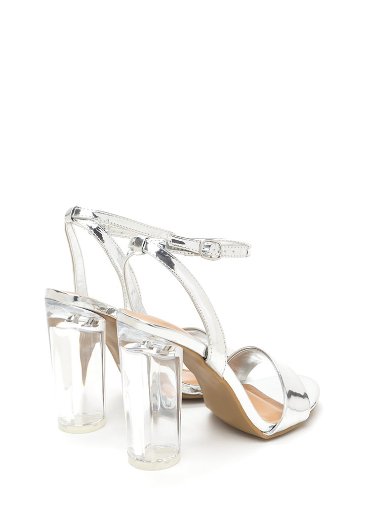 Round The World Chunky Lucite Heels SILVER