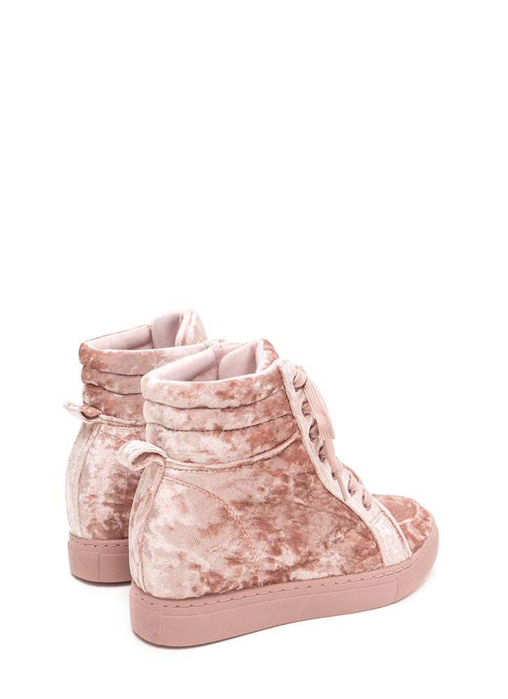 Crushed It Velvet High-Top Sneakers MAUVE