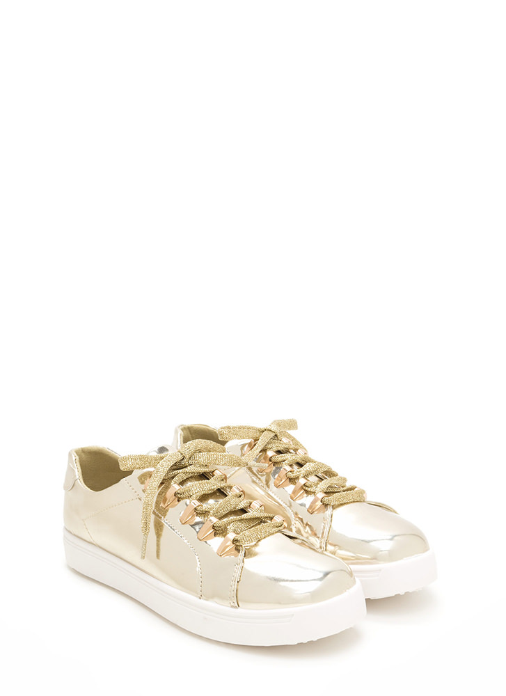 Raising The Bars Faux Patent Sneakers GOLD