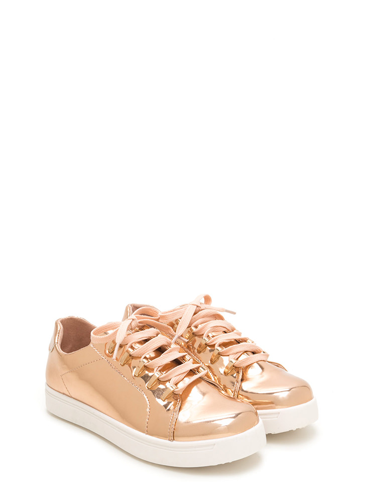 Raising The Bars Faux Patent Sneakers ROSEGOLD