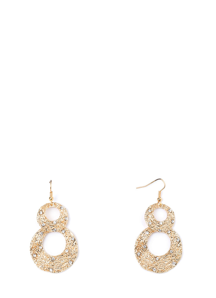 Organic Touch Textured Rhinestone Earrings GOLD