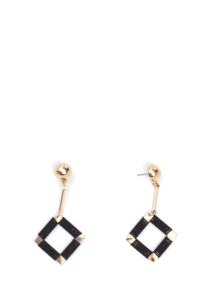 Squared Off Wrapped Earrings GOLDBLACK