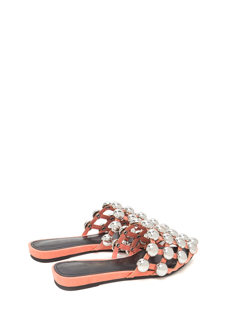 Dome Game Pointy Caged Slide Sandals CORAL