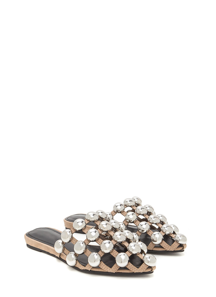 Dome Game Pointy Caged Slide Sandals TAUPE