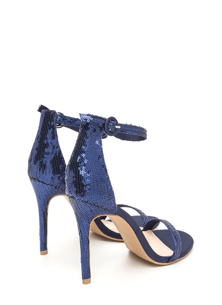 Fancy Footwork Strappy Sequined Heels BLUE