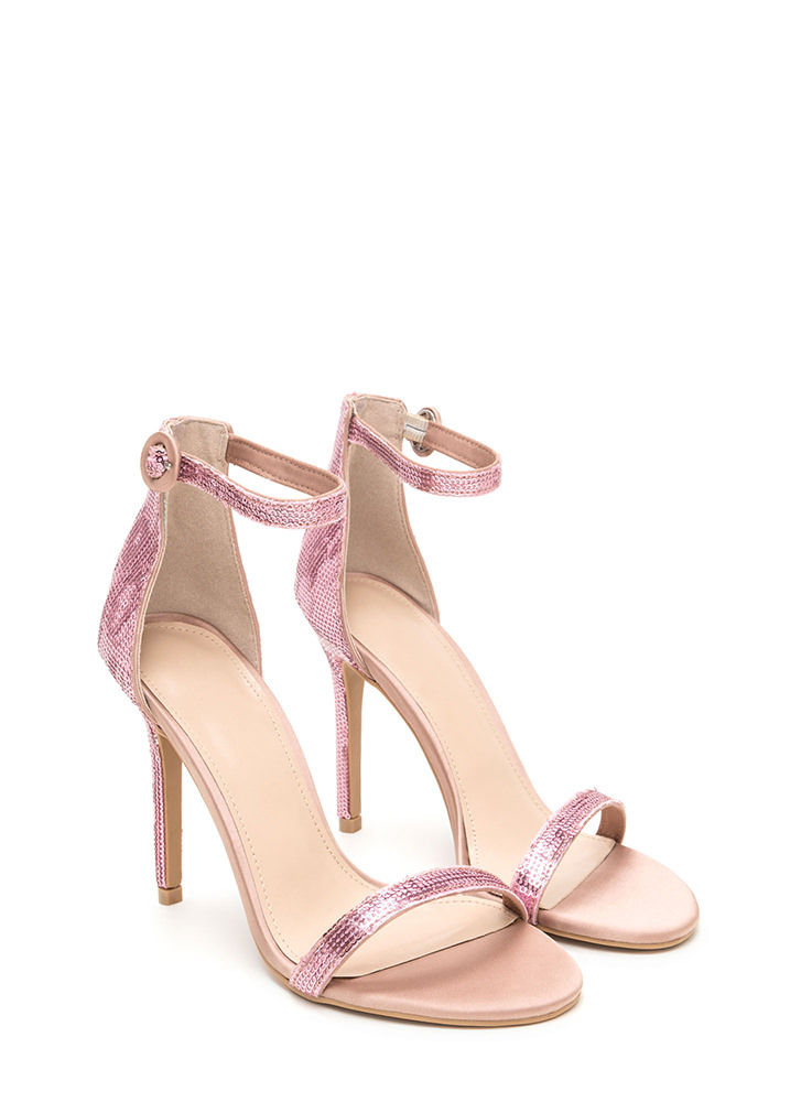 Fancy Footwork Strappy Sequined Heels MAUVE