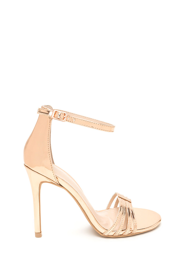 Stack The Deck Strappy Faux Patent Heels ROSEGOLD