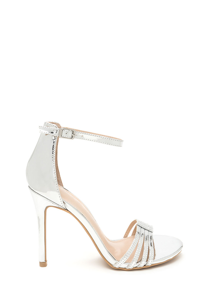 Stack The Deck Strappy Faux Patent Heels SILVER