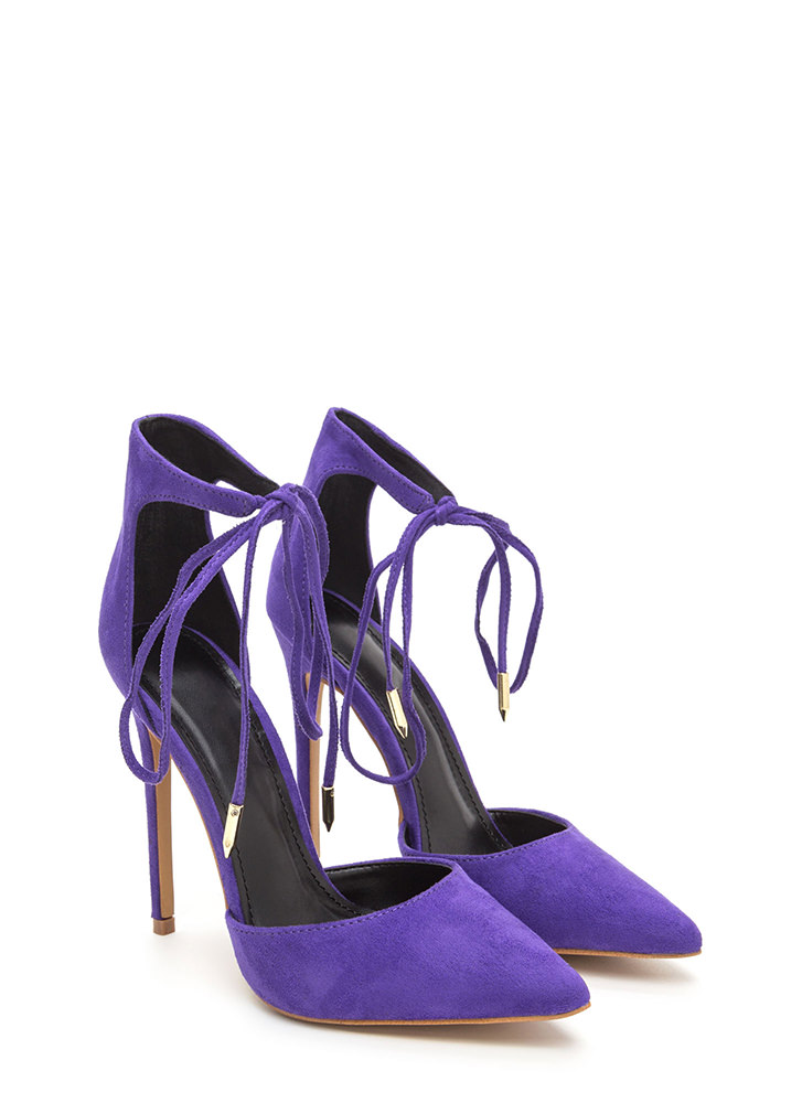 Point In The Right Lace-Up Heels PURPLE