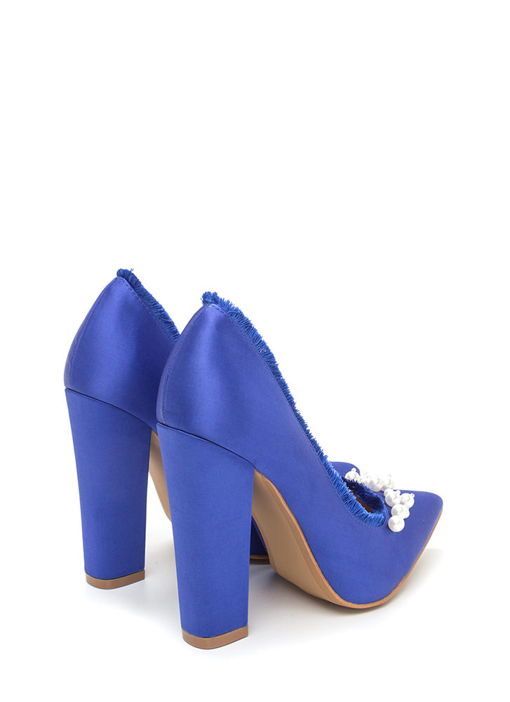 Point To Pearls Chunky Fringed Pumps BLUE