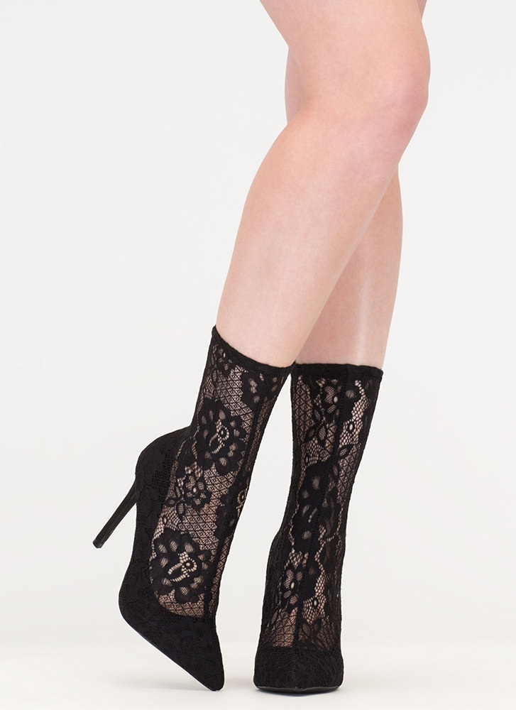 Lace The Game Sheer Pointy Booties BLACK