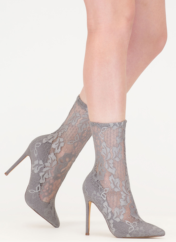 Lace The Game Sheer Pointy Booties GREY