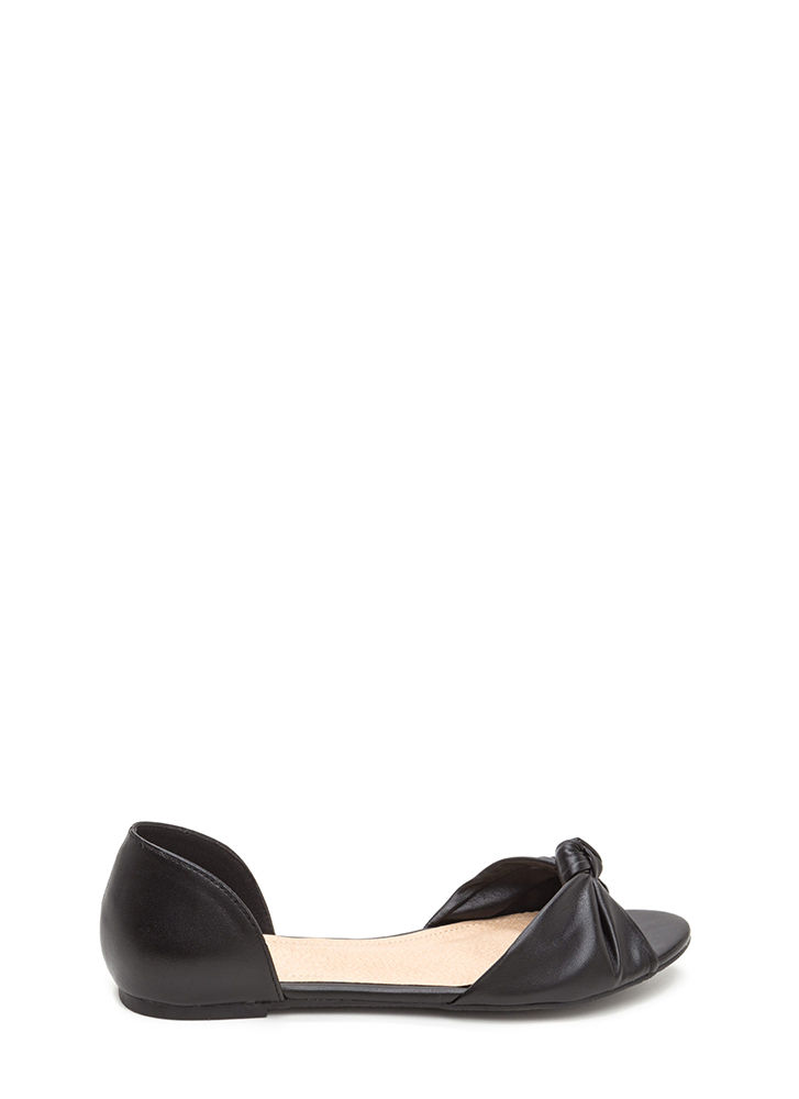 Knotty By Nature Faux Leather Flats BLACK
