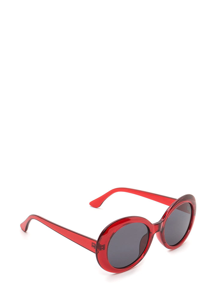 Clear As Day Retro Oval Sunglasses RED