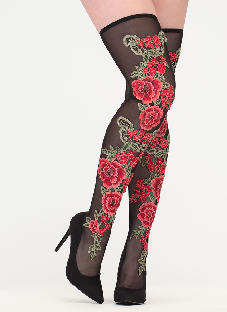 Rosy Romance Sheer Thigh-High Boots MULTI