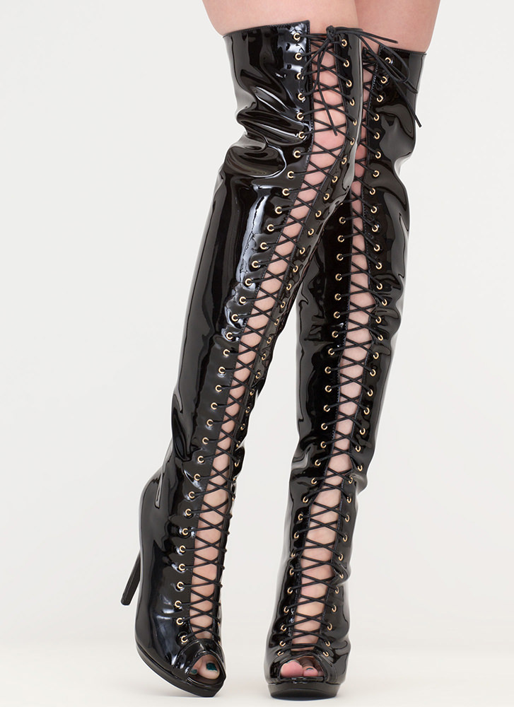 Gloss Over Lace-Up Thigh-High Boots BLACK