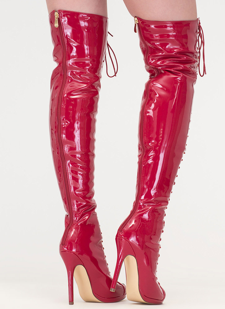 Gloss Over Lace-Up Thigh-High Boots RED