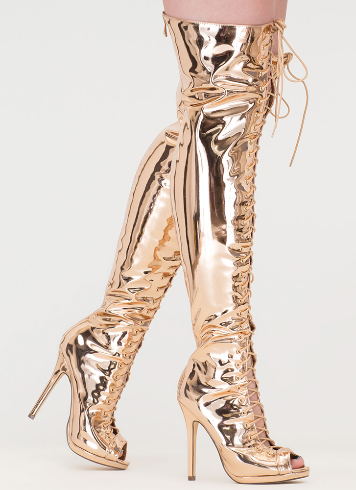 Gloss Over Lace-Up Thigh-High Boots ROSEGOLD
