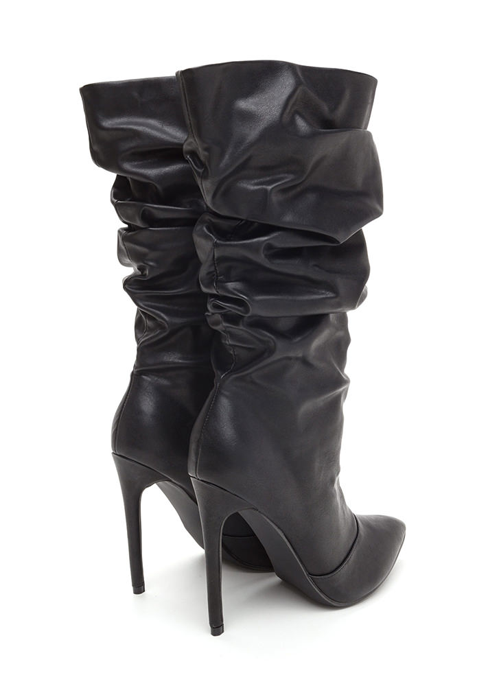 stylish slouch faux leather boots black white gojane