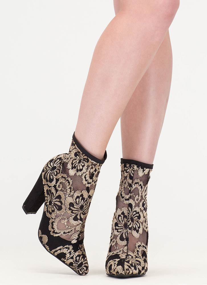 Lace Get It On Chunky Contrast Booties GOLD