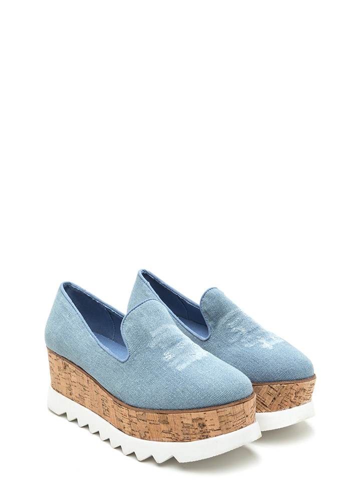 Sky High Denim Platform Wedges LTBLUE