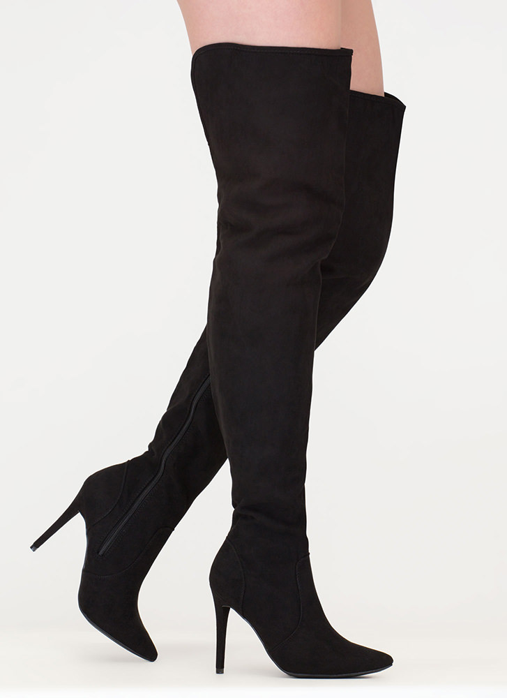 Stand Tall Faux Suede Thigh-High Boots BLACK