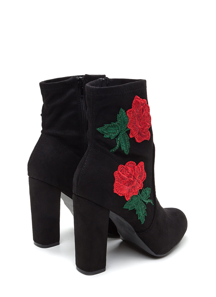 Rose Above Chunky Faux Suede Booties BLACK