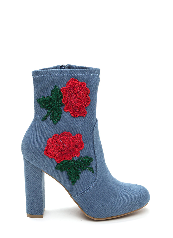Rose Above Chunky Denim Booties BLUE