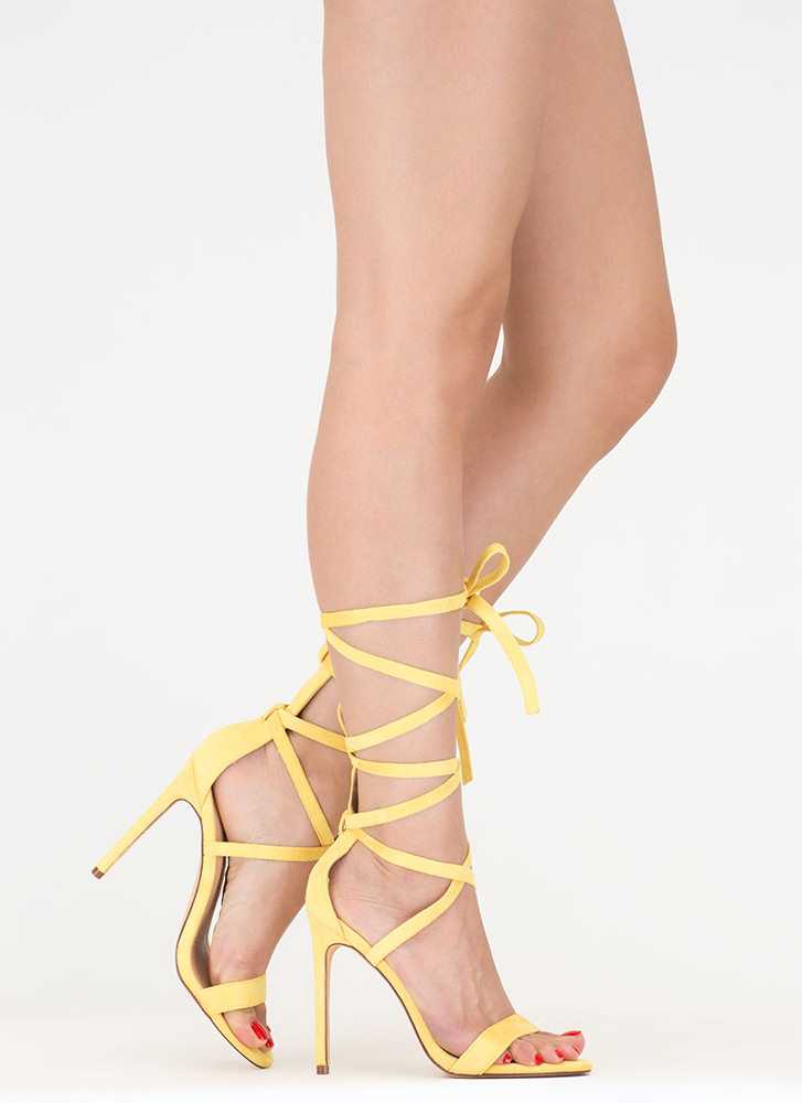 High Street Lace-Up Gladiator Heels YELLOW
