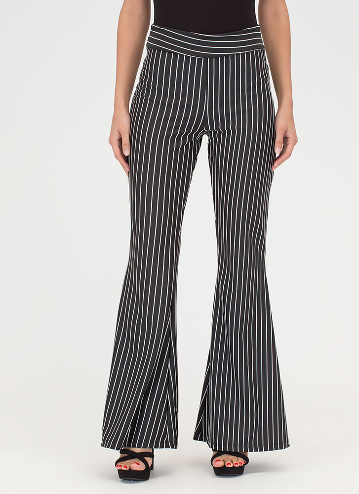 Learn Your Lines Flared Striped Pants BLACK
